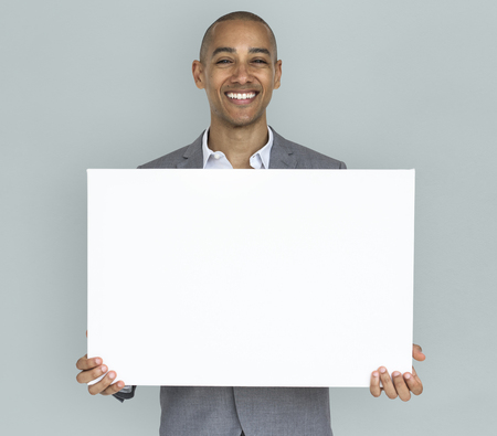 Businessman Smiling Happiness Holding Placard Copy Space Concept