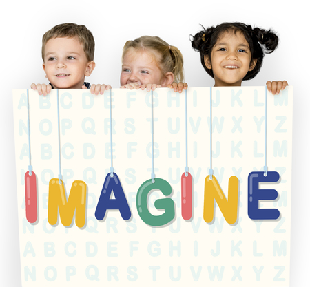 Kids holding a placard with imagine concept