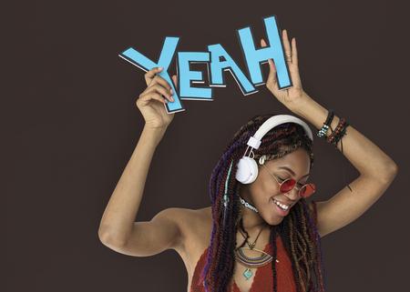 African Descent Female Yeah Headphones Banco de Imagens