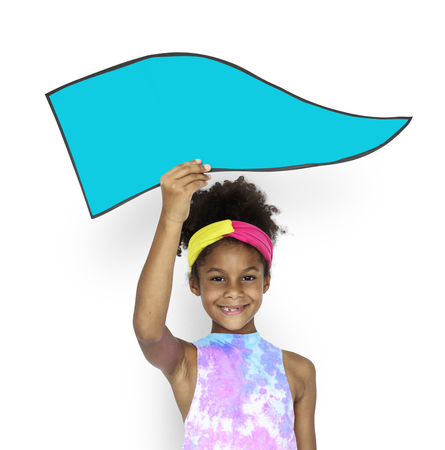 raise the white flag: Little African Girl Holding board Stock Photo