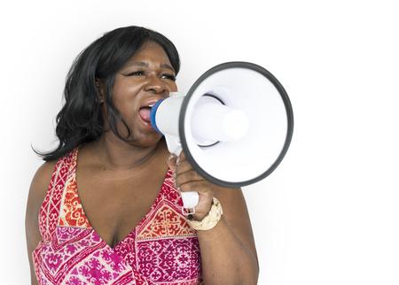 Women Adult Hand Hold Loudspeaker Megaphone Studio Stock Photo