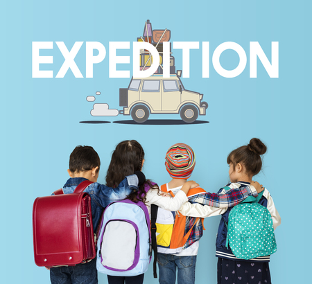 trotting: Children with illustration of discovery journey road trip traveling Stock Photo