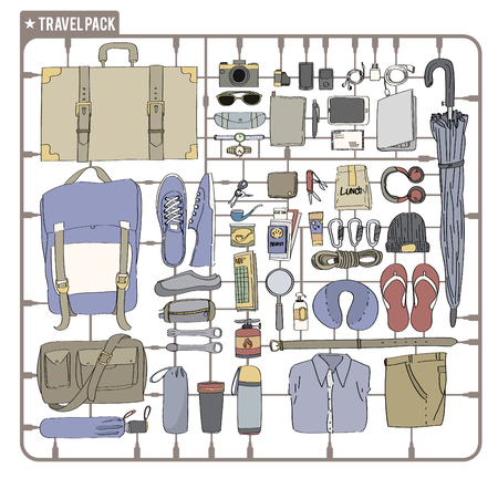 Illustration Drawing Travel Pack Collection Stock Vector - 78256794