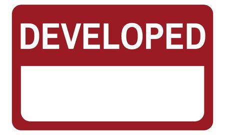 Developed Label Banner Emblem Graphic