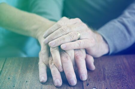 Holding Hands Affection Mature Love Stock Photo