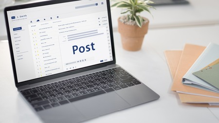 webmail: Composing an email on a digital device Stock Photo