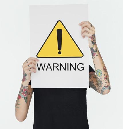 경고 기호주의 아이콘 단어 스톡 콘텐츠