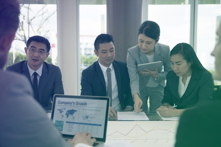 Photo Gradient Style with Business Discussion Meeting Presentation Briefing Stock Photo