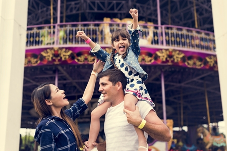 Family Holiday Vacation Amusement Park Togetherness Stock Photo