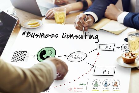 ビジネス コンサルティング ヘルプ ソリューション プラン 写真素材