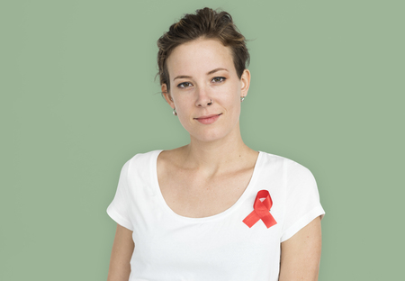 Woman Smiling Happiness Red Ribbon Charity Donation Stock Photo