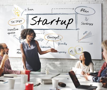 Femme présentant des startups Banque d'images