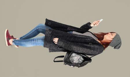 Woman Mobile Phone Communication Technology Portrait Stock Photo