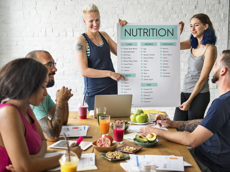 Woman presenting about nutrition concept Stock Photo