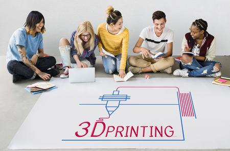 Illustration of 3D printing craft innovation technology