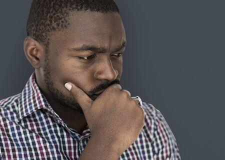 African descent man is feeling nervous Stock Photo - 78394583