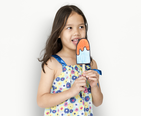 Little Girl Eating Papercraft Icecream