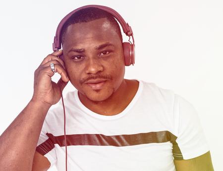 Adult Man Wear Headphone Listen to Music Studio Portrait