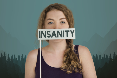 Woman with insanity concept