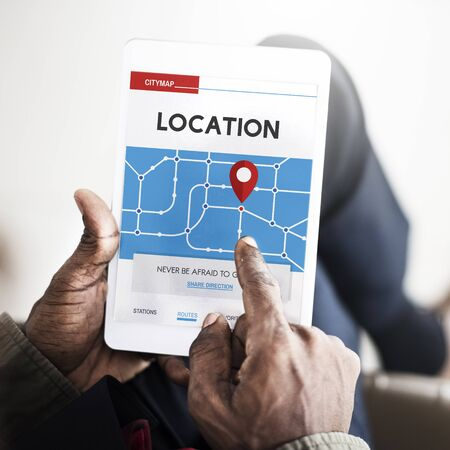 man flying: GPS Map Directions Navigation Location Stock Photo