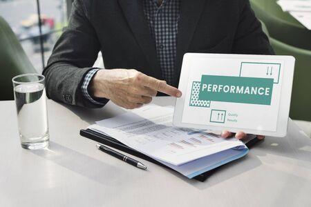 Businessman explains the efficiency performance