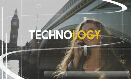 Technology Innovation Girl Talking Phone Reklamní fotografie