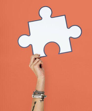 Hand Up Holding Jigsaw Illustration Stok Fotoğraf - 78317635
