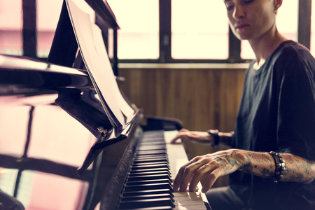 Grand Piano Pianist Musician Performer Melody Stock Photo