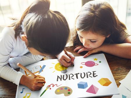 nurture: Childrean Learning Nurture Graphic Icon Symbol