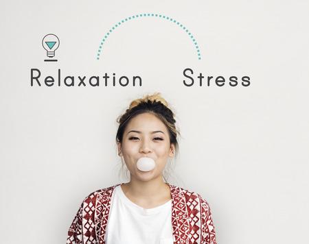 Antonym face à la détente Stress Satisfaction Frustration Banque d'images - 78317898