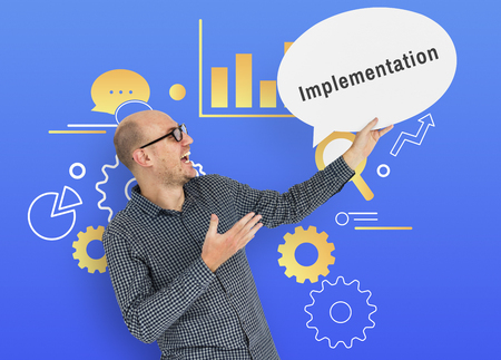 Communication strategy: Communication Management Development Strategy Implementation Stock Photo