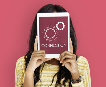 Connection Partnership Leadership Corporation Gear Icon Graphic Word Фото со стока