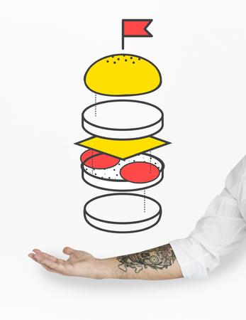ハンバーガー一部成分お団子チーズ パティ図