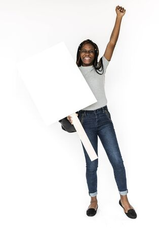 Young Woman Hands Hold Showing Blank Paper Board Copy Space