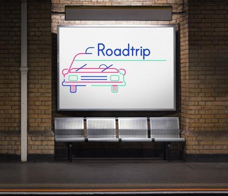 Illustration of automotive car rental transportation commercial at subway Stock Illustration - 78320818