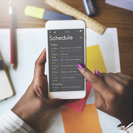 Graphic of personal organizer appointment schedule on mobile phone