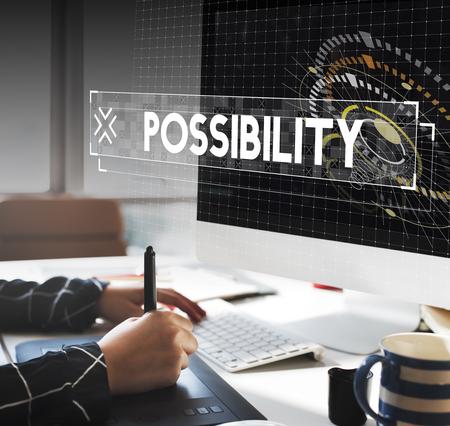 Graphic designer working possibility word graphic design Stock Photo