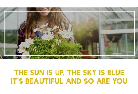 Beautiful life of woman gardening in nature Фото со стока
