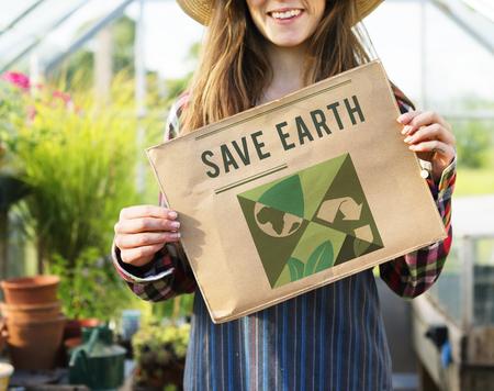 Go Green Save Earth Concept Stock Photo