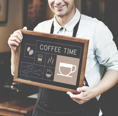 Man holding banner Illustration of coffee shop advertisement blackboard Banco de Imagens