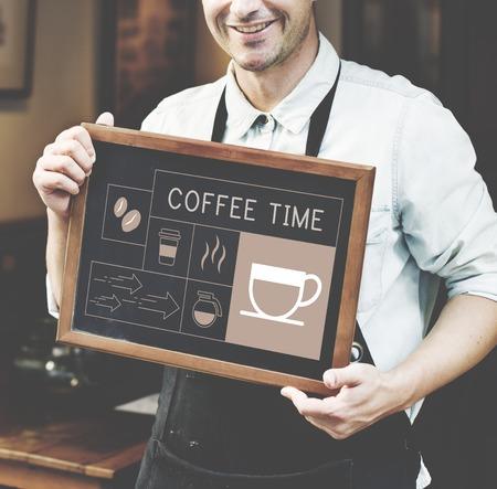 Man holding banner Illustration of coffee shop advertisement blackboard Stock Photo