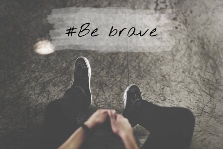 Man Half Body and Be Brave Word Graphic Stock Photo