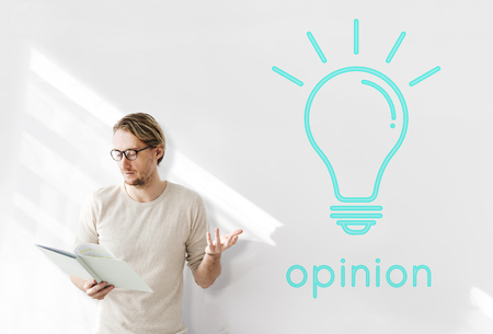 Opinion word light bulb icon graphic Stock Photo