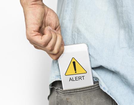警告注意警告重大な危険エラー 写真素材