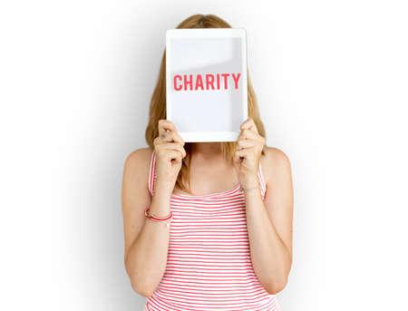 Charity word on solo studio portrait
