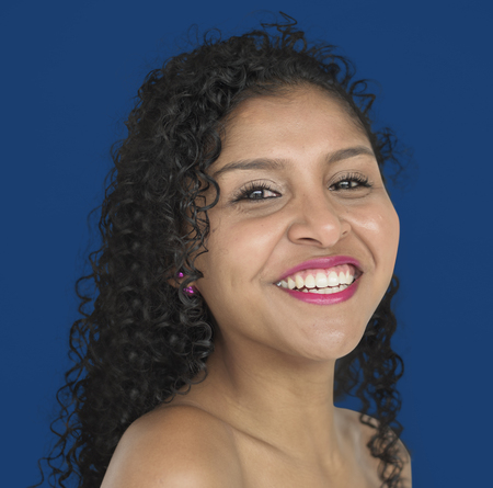 Woman Smiling Happiness Bare Chest Studio Portrait Stock Photo