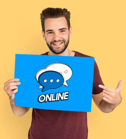 advertise with us: Man Chat Bubble Message Social Media Graphic