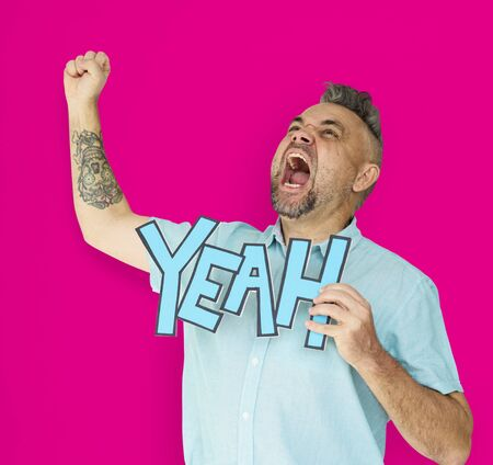 Caucasian Man Shouting Positive Yeah Stock Photo