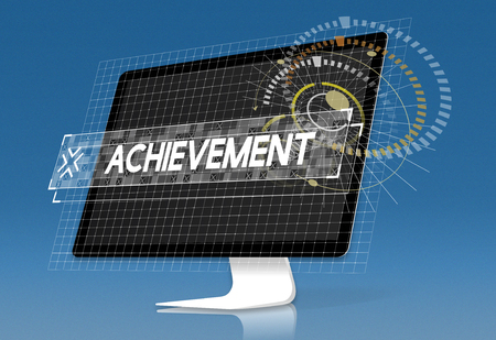 Computer screen with achievement word graphic design word popup
