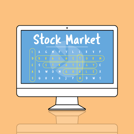Monitor with stock market concept